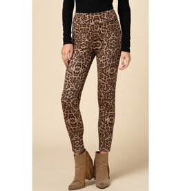 No Time To Waste Leopard Print Fleece Leggings - Taupe