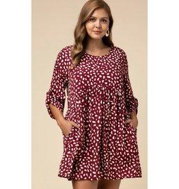 Follow That Feeling Geometric Scoop-Neck Dress - Burgundy