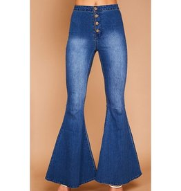 Can't Help But Flare Button Front Jeans - Denim