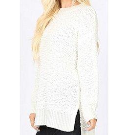 Wind Down Hi-Low Popcorn Sweater - Ivory