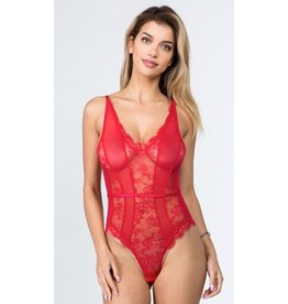 Millie Sheer Mesh V-Neck Bodysuit - Red