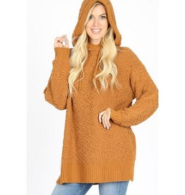 Lift My Spirits Hooded Popcorn Sweater - Coffee