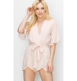 While You're Out Waist Tie Romper - White Swan