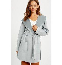 You Plus Me Tie Waist Suede Hood Jacket - Elephant Grey