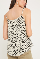 We Will Rock You Leopard Print V-Neck Lace Camisole Top - Cream