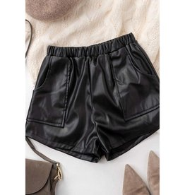 Put The Past Away Faux Leather Smock Waist Shorts - Black