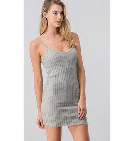You're Crazy Sleeveless V-Neck Knit Dress - Grey