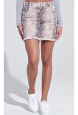 We Ready To Party Snake Print Denim Skirt - Pink