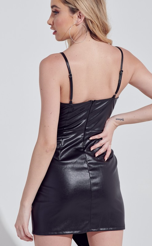 Been About You Pleather Wrap Mini Dress - Black