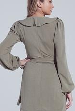 Make A Wish Ruffle Wrap Ribbon Tie Mini Dress - Dusty Olive
