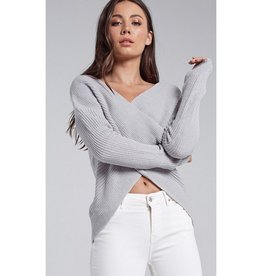 You Drive Me Crazy Crossed Knit Sweater - Light Grey