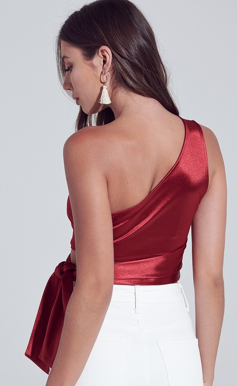Make It Happen One Shoulder Waist Tie Crop Top - Ruby