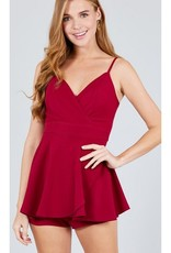 Hold On Tight V-Neck Romper - Dark Red