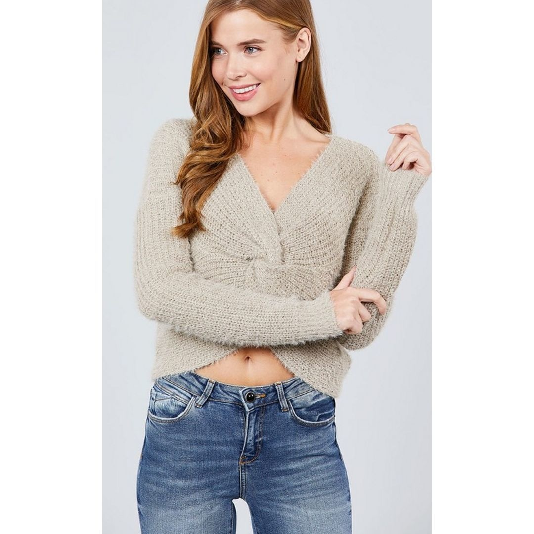 Out Of This World Front Twist Sweater Top - Heather Khaki