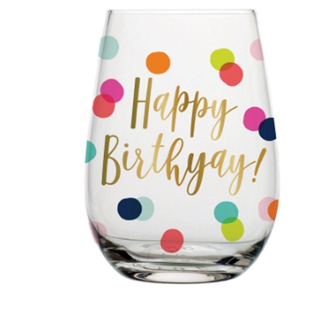 Happy Birthday Dots Wine Glass 20oz