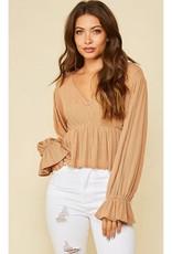 Slide Away Knit Puffy Sleeve Top - Brown