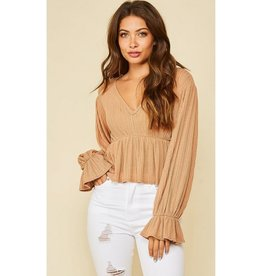 Slide Away Knit Puffy Sleeve Top - Brown