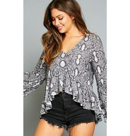 Had A Long Day Animal Print Bell Sleeve Top - Charcoal Multi