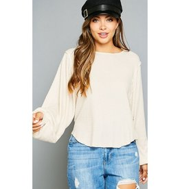 Not My Problem Waffle Knit Bubble Sleeve Top - Cream