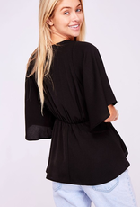 Feeling Happy Woven Peplum Top - Black