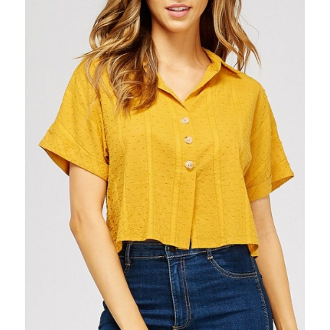 The Answer Is No Swiss Dot Top - Mustard