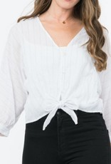 Let Me Be Striped Front-Tie Top - White/Black