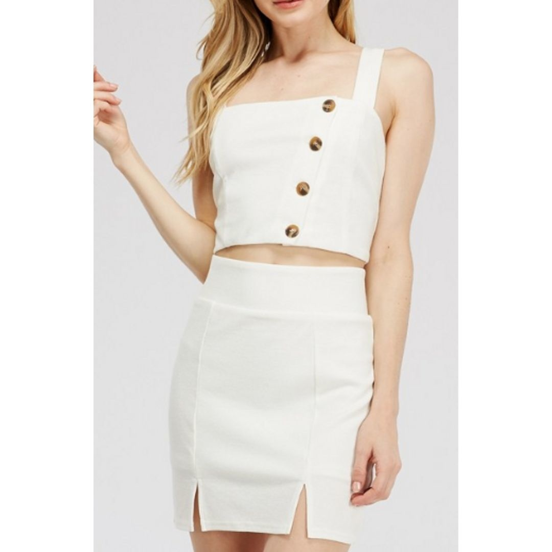 Stay Tuned Ribbed Button Down Crop Top - White