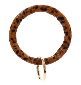 Leopard Bangle Key Ring - Brown