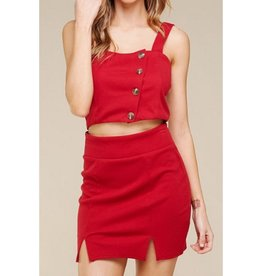 Stay Tuned Ribbed Button Down Crop Top - Red
