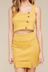 Stay Tuned Ribbed Button Down Crop Top - Mustard