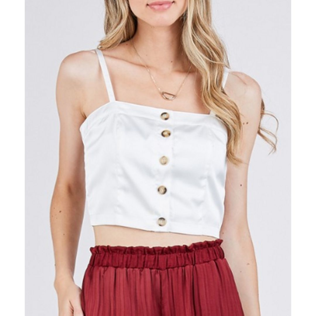 Girls Night Out Satin Button Down Crop Top - Off White