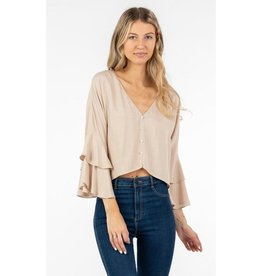 Always Ready Button Down Ruffle Sleeve Top - Natural
