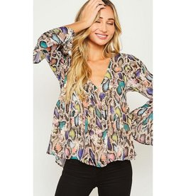 Give Me Five Animal Print Bell Sleeve Flowy Top - Purple/Nude Multi