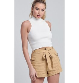 Twirl Me Ribbed Mock Neck Sleeveless Crop Top - Off White