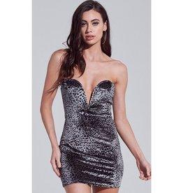 Rock Solid Velvet Leopard V-Wire Strapless Mini Dress - Gunnmetal