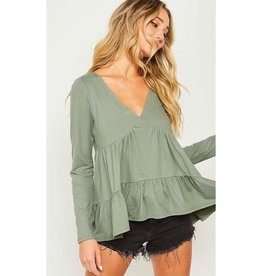 Cause I'm Feeling Beautiful Ruffled Flowy V-Neck Top - Olive