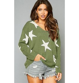 The Stars In Your Eyes Star Printed V-Neck Sweater - Olive