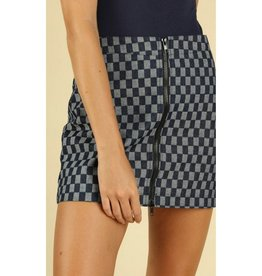 I Need Cake Checkered Zip Up Mini Skirt - Dark Denim
