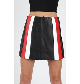 Dancing Queen Colorblock Stripe Mini Skirt - Black