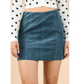 Take Me Far Away High Waist Corduroy Mini Skirt - Dusty Blue