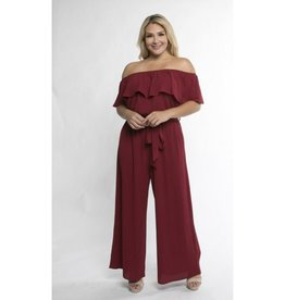 Hello To You Flounce Off Shoulder Jumpsuit - Burgundy