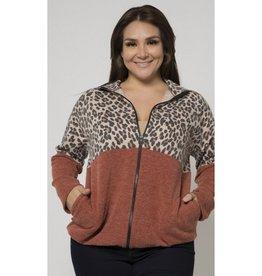 Feeling Myself Leopard Colorblock Jacket - Rust