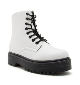 Smooth Strutting Platform Combat Boots - White