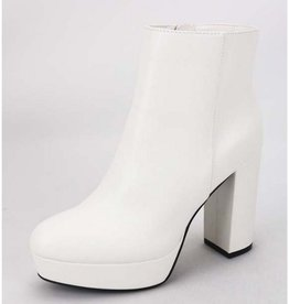 Been Here Waiting Heeled Booties - White