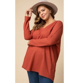 No More Games Ribbed Knit Top - Rust