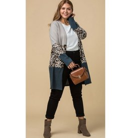 Picked By Me Color Block Leopard Print Cardigan - Latte Combo