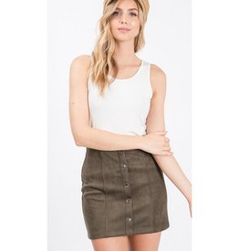 Illuminate The Room Suede Mini Skirt - Olive