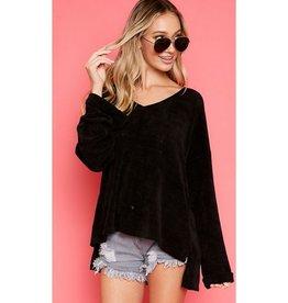 Calling A Cab Chenille V-Neck Side Step Hem Sweater - Black