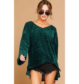 Calling A Cab Chenille V-Neck Side Step Hem Sweater - Hunter Green