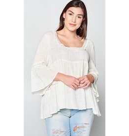 Windows Rolled Down Woven Babydoll Bell Sleeve Blouse Top - Natural